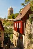 Opinión de la calle en una ciudad alemana tradicional Foto de archivo