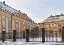 Opinión de la calle para indicar edificios en el invierno Copenhague de Dinamarca Imagen de archivo