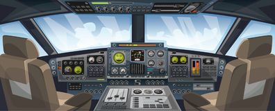 Opinión de la carlinga del aeroplano con los botones del panel de control y el fondo del cielo en la opinión de la ventana Cabina stock de ilustración
