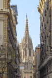 Opinión de la catedral de Barcelona Foto de archivo libre de regalías