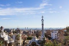 Opinión de la ciudad de Barcelona del parque Guell imagen de archivo libre de regalías