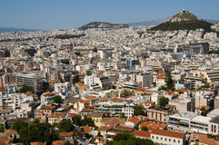 Opinión de la ciudad de Atenas Imagen de archivo