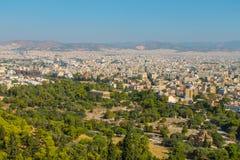 Opinión de la ciudad de Atenas Foto de archivo