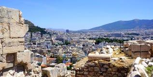 Opinión de la ciudad de Atenas Imagen de archivo libre de regalías