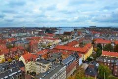 Opinión de la ciudad de Copenhague Foto de archivo libre de regalías