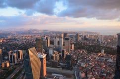 Opinión de la ciudad de Estambul en una altitud de 280 m Foto de archivo libre de regalías