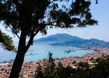 Opinión de la ciudad de Grecia Foto de archivo libre de regalías