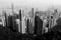 Opinión de la ciudad de Hong Kong en blanco y negro Fotografía de archivo