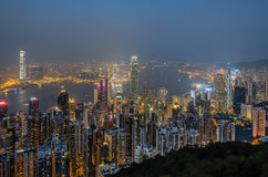 Opinión de la ciudad de Hong Kong en la noche Fotos de archivo libres de regalías