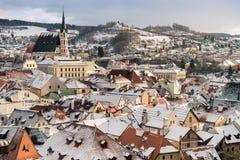 Opinión de la ciudad de Krumlov, República Checa fotografía de archivo