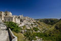 Opinión de la ciudad de Matera Fotografía de archivo libre de regalías