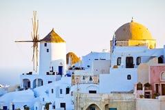 Opinión de la ciudad de Oia, Santorini Fotografía de archivo libre de regalías