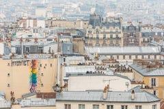 Opinión de la ciudad de París de la basílica del corazón sagrado imágenes de archivo libres de regalías