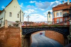 Opinión de la ciudad de Sibiu Imagen de archivo