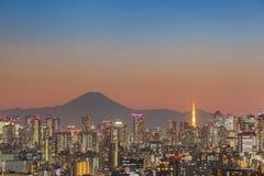 Opinión de la ciudad de Tokio con el monte Fuji fotos de archivo libres de regalías