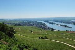 Opinión de la ciudad del desheim del ¼ de RÃ en el río el Rin Imagen de archivo libre de regalías