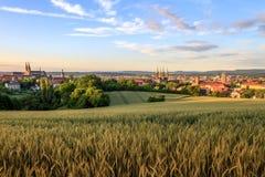 Opinión de la ciudad del verano de Bamberg Fotografía de archivo libre de regalías