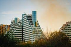 Opinión de la ciudad en Valencia cerca del parque Turia Valencia, España foto de archivo