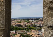Opinión de la ciudad de la fortaleza de Carcasona imagen de archivo libre de regalías