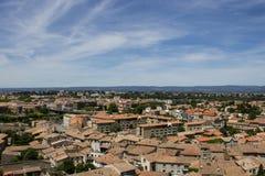 Opinión de la ciudad de la fortaleza de Carcasona, Francia imagenes de archivo