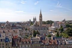 Opinión de la ciudad de Francia, Caen del castillo fotografía de archivo libre de regalías