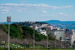 Opinión de la ciudad de Lisboa del punto de vista Miradouro Parque Eduardo del parque de Eduardo VII VII Imágenes de archivo libres de regalías