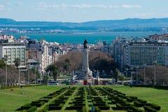 Opinión de la ciudad de Lisboa del punto de vista Miradouro Parque Eduardo del parque de Eduardo VII VII Imagen de archivo libre de regalías
