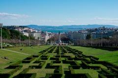 Opinión de la ciudad de Lisboa del punto de vista Miradouro Parque Eduardo del parque de Eduardo VII VII Foto de archivo libre de regalías