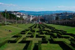 Opinión de la ciudad de Lisboa del punto de vista Miradouro Parque Eduardo del parque de Eduardo VII VII Fotografía de archivo libre de regalías