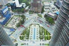 Opinión de la ciudad a partir del piso el 86 de Petronas Foto de archivo libre de regalías