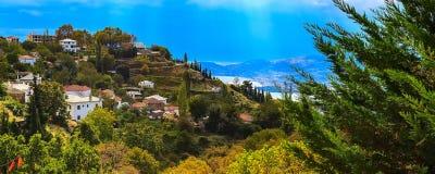Opinión de la ciudad de Volos del soporte de Pelion, Grecia Fotos de archivo