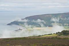 Opinión de la colina de Porlock abajo en boca de mina Fotografía de archivo libre de regalías