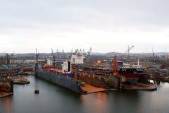 Opinión de la construcción naval Foto de archivo