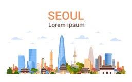 Opinión de la Corea del Sur del horizonte del fondo de la ciudad de Seul con los rascacielos y la bandera famosa de la plantilla  stock de ilustración