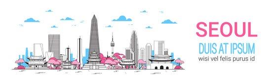 Opinión de la Corea del Sur del horizonte del fondo de la ciudad de Seul con los rascacielos y la bandera horizontal de la planti libre illustration