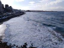Opinión de la costa con el cielo en Alexandría imagen de archivo libre de regalías