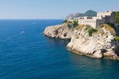 Opinión de la costa costa de Dubrovnik Imagen de archivo libre de regalías