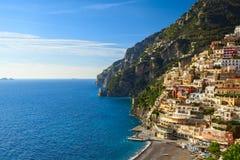 Opinión de la costa de Positano Imagen de archivo libre de regalías