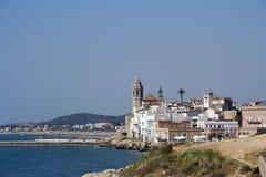Opinión de la costa de Sitges Imagen de archivo
