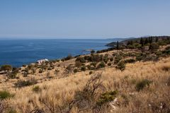 Opinión de la costa - isla de Zakynthos Fotos de archivo