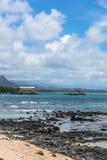 Opinión de la ensenada de Kaupo de la bahía de Kaupo, Oahu, Hawaii fotos de archivo