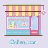 Opinión de la fachada de la panadería Icono de la panadería Tienda de los pasteles, pastelería, tienda del caramelo Ilustración d Imágenes de archivo libres de regalías