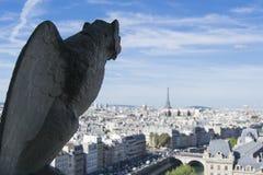 Opinión de la gárgola y de la ciudad del tejado de Notre Dame de Paris Imagen de archivo libre de regalías