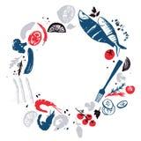 Opinión de la guirnalda del diseño del menú de los pescados Productos agrícolas frescos Bon Appetite Imagenes de archivo