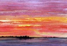 Opinión de la isla de la puesta del sol imagen de archivo