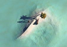 Opinión de la isla y del mar de arriba Fotografía de archivo libre de regalías