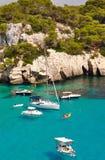 Opinión de la laguna de la isla de Menorca Foto de archivo libre de regalías