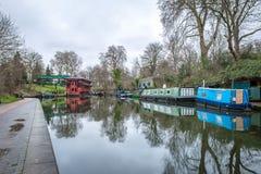 Opinión de la mañana del canal de los regentes, Londres Fotografía de archivo