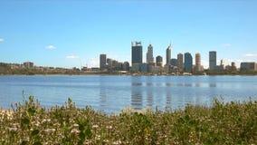 Opinión de la mañana del horizonte de Perth y de flores almacen de metraje de vídeo