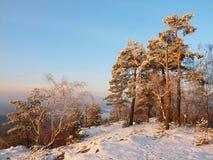 Opinión de la mañana del invierno al cielo del sur y a la luz brumosos del oeste, azules del sol. Imágenes de archivo libres de regalías